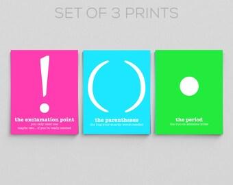Typographic Print Neon Punctuation Grammar Prints Office Decor Classroom Prints English Teacher Gifts for Teachers Editor Writer Book Lover