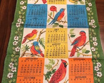 1972 Birds Linen Calendar Towel