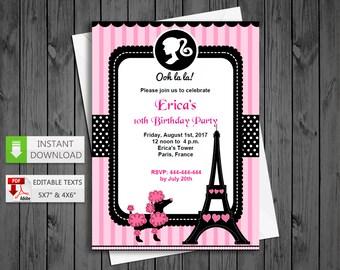 Poodle invite etsy printable invitation poddle paris in pdf with editable texts glamour paris party invitation edit solutioingenieria Choice Image