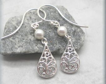 White Pearl Accent Filigree Earrings, Sterling Silver, Filigree Teardrops, Small Filigree Earrings, Bridal Jewelry, Lightweight