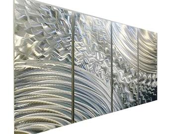 SALE!! Silver Modern Multi Panel Metal Wall Art - Contemporary Wall Hanging - Decorative Abstact Wall Sculpture - Cross Current by Jon Allen