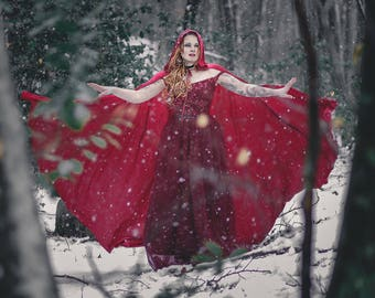 Red Riding Hood stretch Velvet Cape Costume Cape Fairytale Fantasy Cloak in bright Red ON SALE