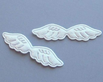 30 Pieces Satin Embossed Angel Wings Appliques EA18