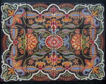 Moroccan, hand painted tile, mural, tumbled stone, original art design