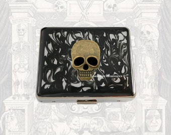 Skull Weekly Pill Box Inlaid in Hand Painted Glossy Enamel Black Ink Swirl Design Goth Inspired Personalized and Color Options Available