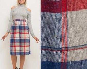 On sale PLAID skirt- Vintage 60s 70s pleated retro midi knee length school girl high waisted grey red blue 1970s skirt