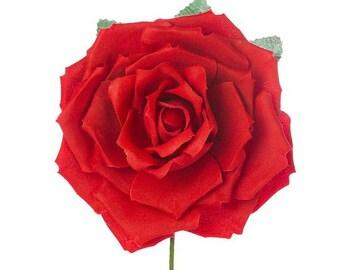 "Ole Ole Flamenco original 6"" fabric roses (Red or Black or White or Blue)"