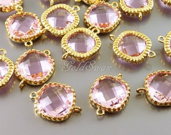 2 lovely pink blush / bridal pink color square shape glass connectors, perfect for brides, bridesmaids jewelry 5140G-PK