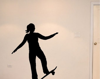 Girl Skateboard Decal Removable Skateboard Wall Sticker