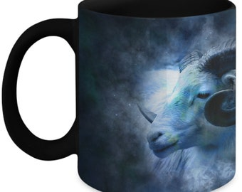 Birthday Gift for Aries Sign, Aries Zodiac Full Wrap Black Coffee Mug Astrolgoy Gift for Him, Her  11 and 15 oz