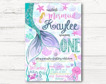 Mermaid  Birthday Invitation, Little Mermaid First Birthday  Invite, Under The Sea Invitation Mermaid Party, Glitter  Invitation C071