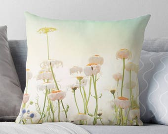 floral pillow cover, Wildflowers, flowers, garden, botanical