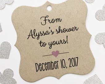 Bridal Shower Tags, Kraft From My Shower To Yours Favor Tags, Bridal Shower Hang Tags  (FS-067-KR)