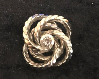 Vintage Silver Tone and Rhinestone Brooch, Knot