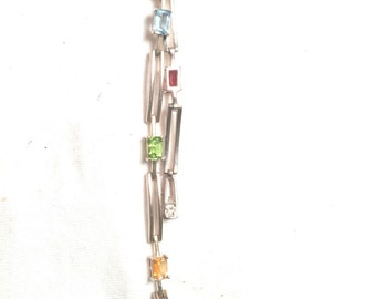 Vintage 925 sterling silver mulit stone / gem LGP SS bracelet