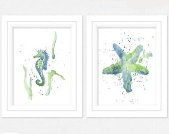 Watercolor Print Set of 2  - Sea horse Watercolor - Watercolor Starfish - Watercolor Prints - Art Prints - Coastal Wall Art - Beach Prints