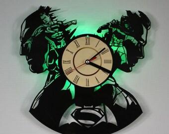 DC Comics lamp, Superman v Batman green led night light, Superman v Batman vinyl record wall clock, Superman v Batman Gifts Ideas