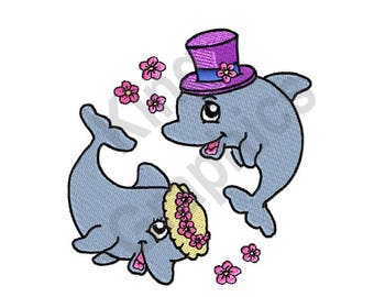 Dolphins - Machine Embroidery Design, Bride and Groom