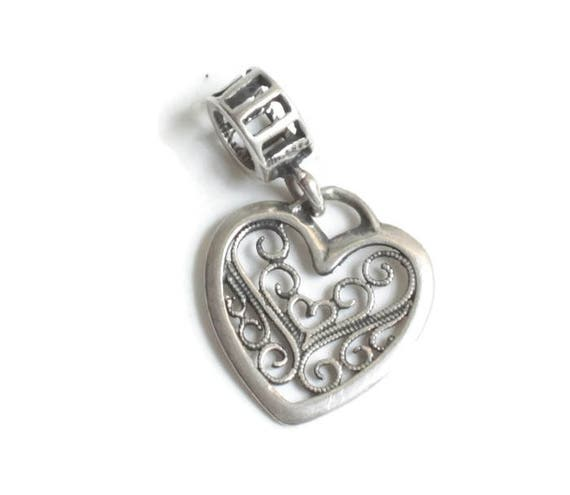 Sterling Silver Filigree Heart Dangle Charm Large Hole Charm for European Style  Bracelet
