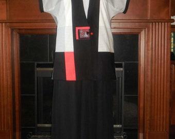 Handmade Japanese style cotton Kimono reversible kimono jacket vintage Bakelite button closure sleeveless short sleeve summer coat size med