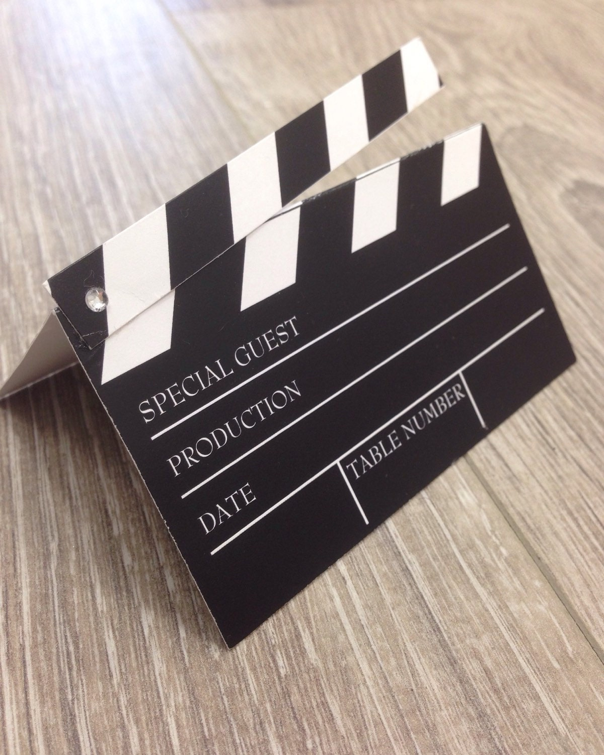 Movie slate place card / escort card comes printed with each