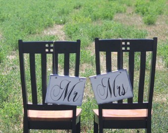 Mr and Mrs Chair Signs Custom Bride and Groom Photo props
