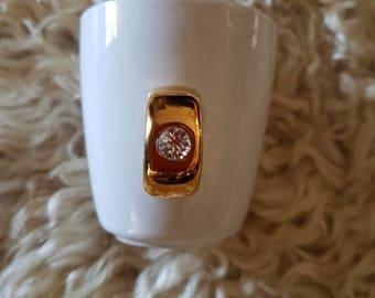 Vintage novelty espresso diamond ring cup