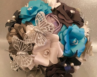 Paper Flower Blue, Silver and Grey bouquet wedding flowers