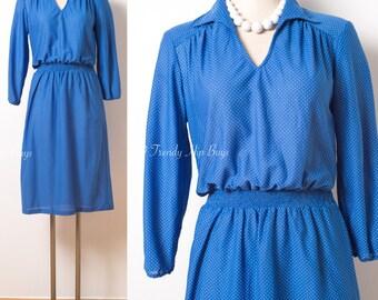 Vintage Blue Dress, Vintage Dress, Vintage Swiss Dot Dress, 70s Dress, Vintage Secretary Dress, Blue Swiss Dot Dress,Vintage day dress - M/L