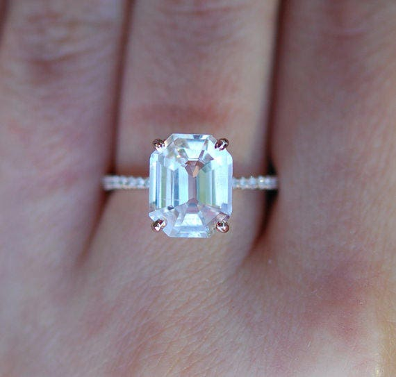 Engagement Ring emerald cut 14k rose gold diamond ring. White sapphire ring Unique engagement ring anniversary ring 4ct sapphire ring