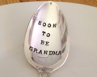 Soon To Be Grandma - Announcement Baby Spoon - Gift for Grandma -Vintage Gift - forsuchatimedesigns