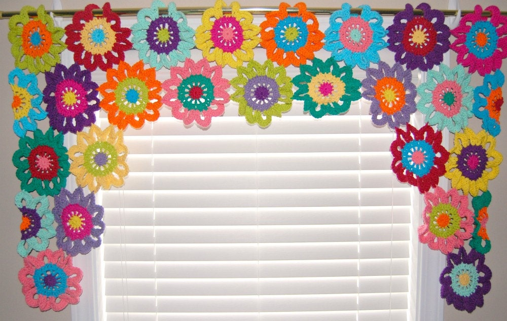 Valance Flower Curtains Crochet Curtains Kitchen