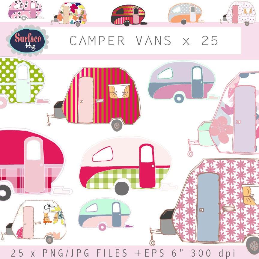 Campervan clip art CAMPER VANS Retro clip art Retro campers