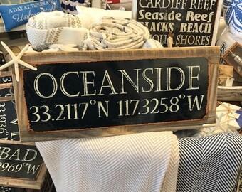 Beach Decor Custom Town Sign -Longitude Latitude Sign w/Starfish -Oceanside Sign -Coastal Home Decor -Wooden & Metal Sign -Coordinates