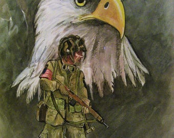 World War ll Airborne, 16x20 Original Watercolor Painting,One of a Kind,Not a Print
