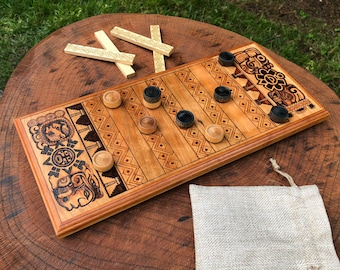 Puluc Game, Strategy Game w/ pre-Columbian origins, Cherry Wood Board Game, handcrafted, customizable wood-burned artwork - MADE TO ORDER