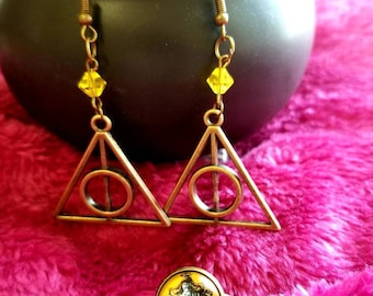 Deathly Hallows earring and ring set-Hufflepuff-