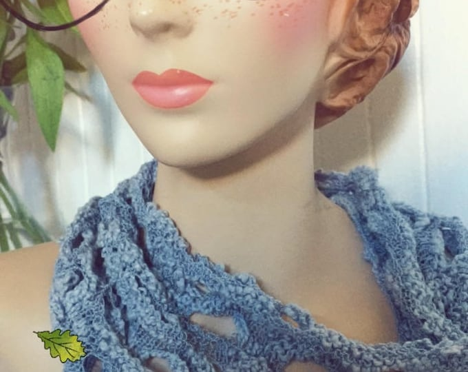 Fog Lace Hand Knit Pullover Scarf