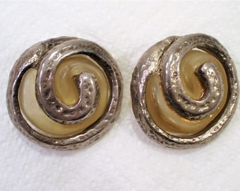 Vintage Silver & Resin Earrings / Famous Designer /  Dominique Denaive of Paris, France / Clip On Earrings / Big and Bold Earrings