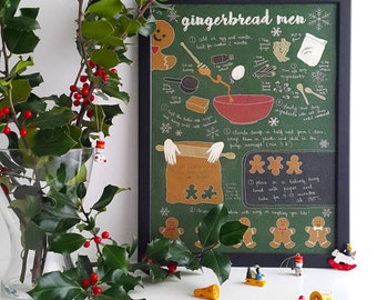 Illustrated recipe art print | Gingerbread men | Illustrated food | Kitchen art