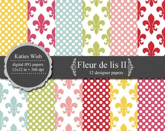 Fleur de lis II Digital Paper Kit 12x12 inch jpg sheets Instant Download