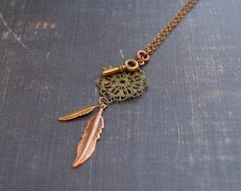 Feather Key Necklace Skeleton Key Necklace Bohemian Medallion Mixed Metal Feather Necklace Antiqued Medallion Necklace Boho Festival Jewelry