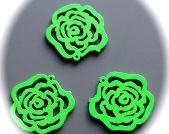 5 connectors filigree rosettes flower prints green 3D wooden