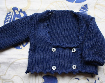 Cardingan handmade in blue wool for boys and girls