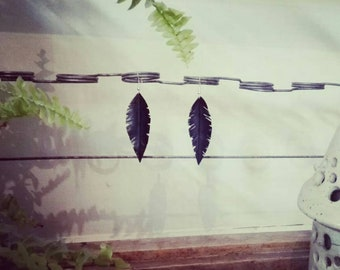 simple design inner tube feather drop earrings dangle 925 sterling silver handmade boho festival upcycling recycling black