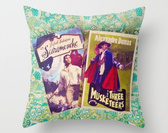 Swashbuckling Books Pillow- INSERT INCLUDED: home decor, green, blue, Three Muskateers, library, librarian, bedding, couch pillow