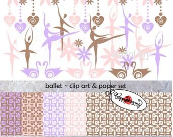 Ballet Paper and Elements SET: Digital Scrapbook Paper Pack (300 dpi) Ballerina Swans Lavender Brown Pink