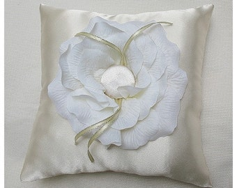 Wedding Ring Pillow for Ring bearer in ivory satin with white rose flower CUSTOM MADE 8x8 inches
