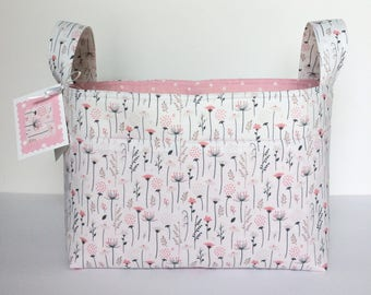 diaper caddy ~ fabric basket~ pink gray floral and polka dot basket ~ nursery storage ~ toy organizer ~ nursery decor ~ storage caddy