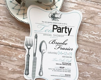 Tea Party Bridal Shower Invitation, High Tea Wedding Shower Invitation, Kitchen Themed Bridal Shower Invite, Vintage Silverware Invitation